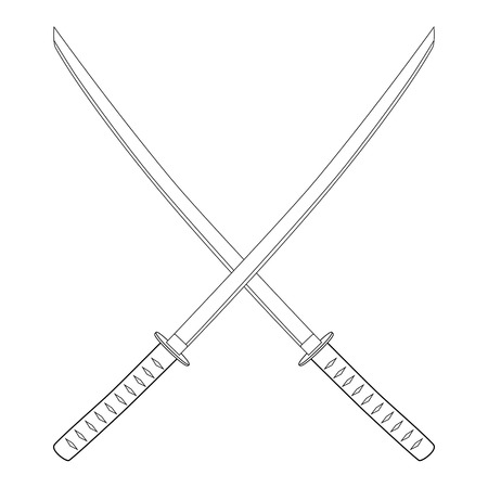 samurai sword: Vector illustration crossed japanese katana swords outline drawing. Samurai sword, traditional weapon Illustration