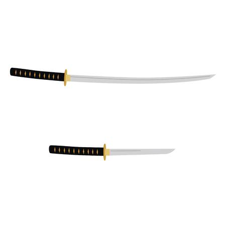 Vector illustration japanese katana and tanto sword. Samurai sword, traditional weapon