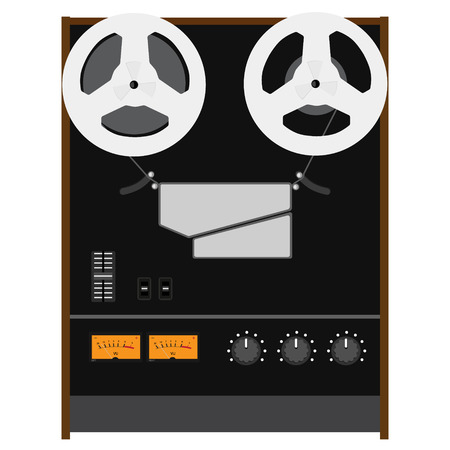 hifi: Vector illustration Hi-Fi analog stereo reel to reel tape recorder deck with UV meter