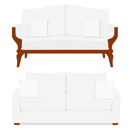 vintage furniture: Vector illustration white vintage classic sofa. Classic vintage furniture