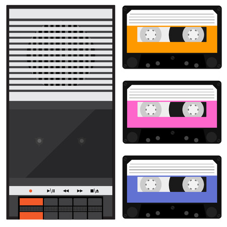 Vector illustration vintage audio tape recorder and three different color cassette. Tape recorder icon