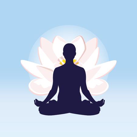 man meditating: Vector illustration the sign of a man or woman meditating.