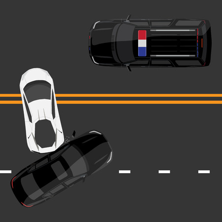 drunk driving: Vector illustration top view of car accident with white sport car and black sedan on road. Police car