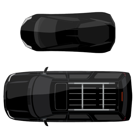 Vector illustration black jeep and sport car top view. Generic car.