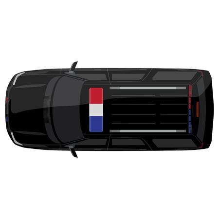 ilustración vectorial vista desde arriba de un coche de policía con las luces brillantes de la policía