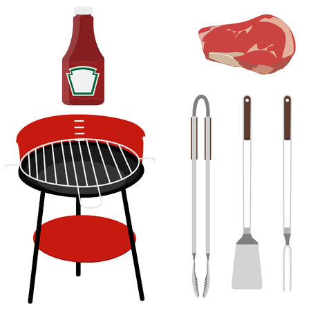 Barbeque set grill, tang, vork, keerder, ketchup ans vlees, grillen gebruiksvoorwerpen raster geïsoleerde Stockfoto - 53132288
