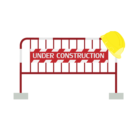 road barrier: Red,white, striped road barrier with under construction sign and yellow building helmet ,barricade, road block raster isolated Stock Photo