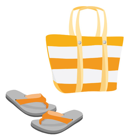 flip flop: Orange and white striped summer beach bag and flip flop sandals footwear raster set