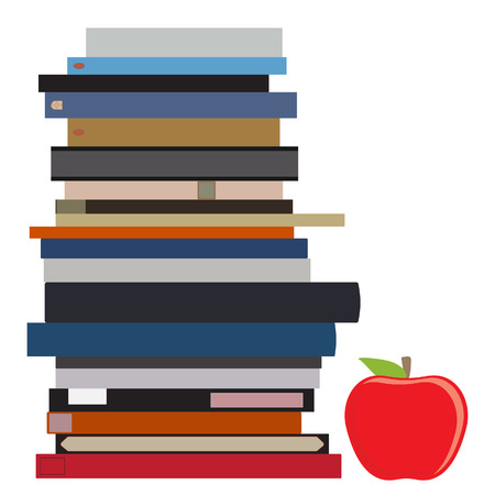 red apple: raster illustration book stack and red apple. Pile of books. Education symbol Stock Photo