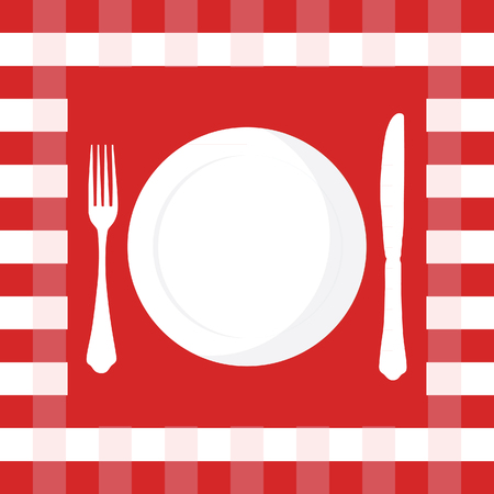 picnic cloth: Red and white checkered tablecloth with fork, knife and plate raster illustration. Picnic table cloth