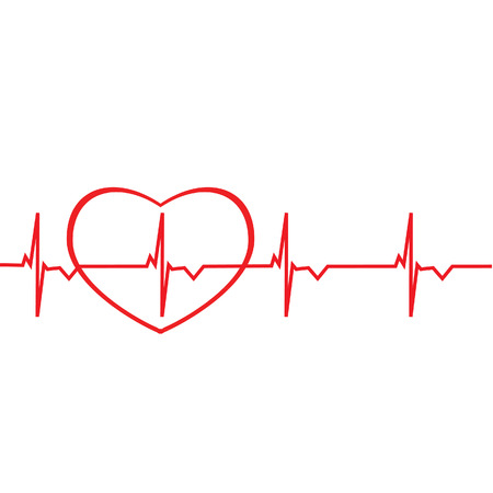 heart ecg trace: Red ekg line with heart silhouette raster isolated. Heart monitor. Electrocardiogram