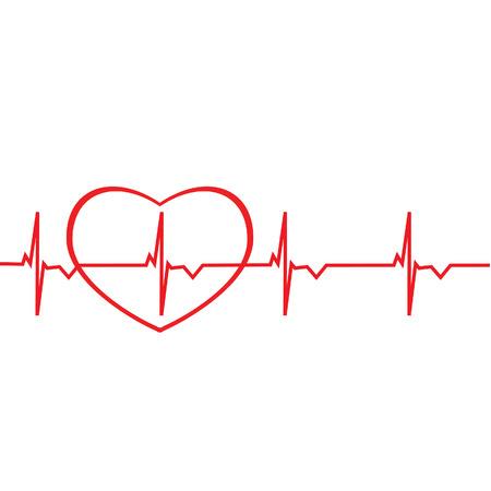Rode lijn van het electrocardiogram met hart silhouet raster geïsoleerd. Hart monitor. elektrocardiogram