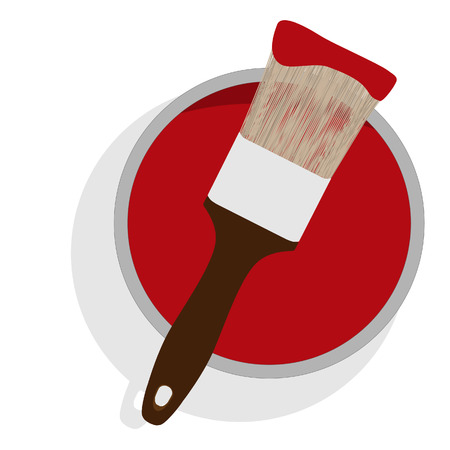 paint can: Metal paint can with red paint and paintbrush with wooden handle up view raster illustration