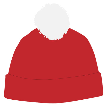 snowboarding: Red winter hat with white pompom raster isolated, snowboarding hat