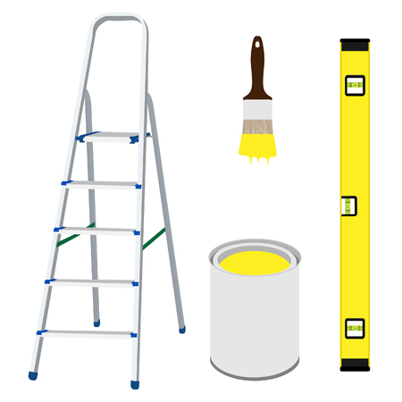 step ladder: raster illustration of work tools metal step ladder, paint brush with yellow paint, building level and paint bucket Stock Photo