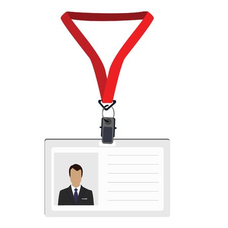 cardholder: White plastic lanyard with photo raster isolated, name badge, name tag, employee badge Stock Photo
