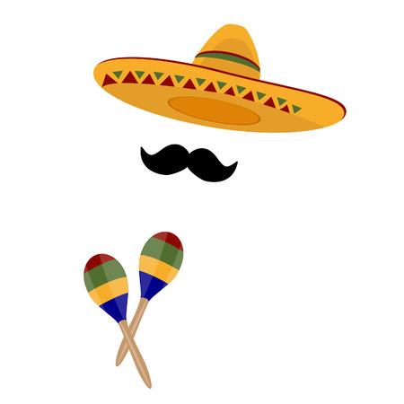 mexican hat: Sombrero, mexican hat, maracas , sombrero raster, mustache raster Stock Photo