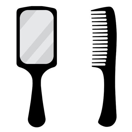 hand mirror: Black, small, hand mirror raster icon set. Barber comb.