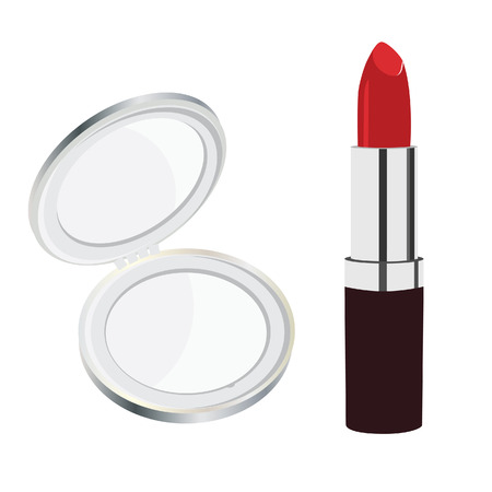 red lipstick: Small, silver, pocket mirror and red lipstick raster. Compact mirror Stock Photo