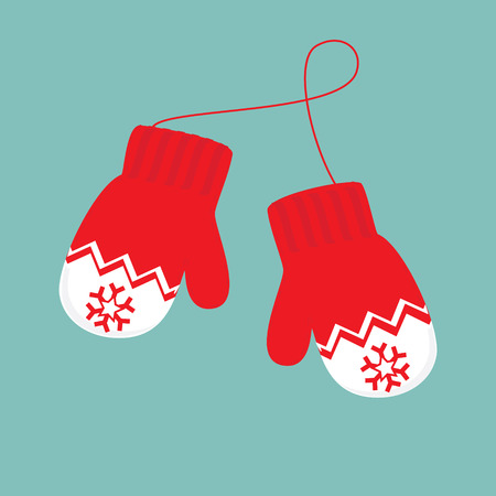 raster illustration pair of knitted christmas mittens on blue background. Mitten icon. Christmas greeting card with mittens Stock Photo