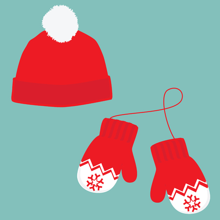 ski wear: raster illustration pair of knitted christmas mittens and red winter hat with pompom on blue background. Christmas greeting card with mittens and winter hat
