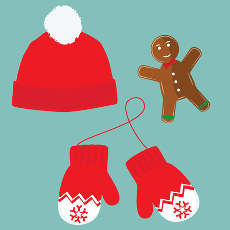 christmas cookie: raster illustration pair of knitted christmas mittens, christmas cookie and red winter hat with pompom on blue background. Christmas greeting card with mittens Stock Photo