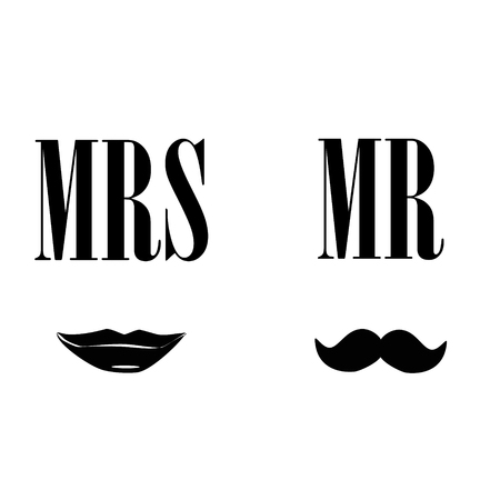 mr and mrs: Ladies and gentleman raster illustration black silhouette lips kiss and  mustache. Mrs and mr symbols