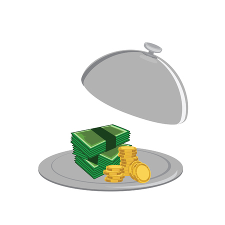 serve: Lot of money on the serve plate. Tray with stack of golden coins and banknotes raster illustration