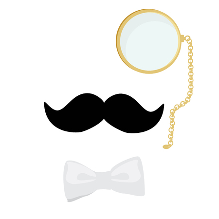englishman: raster illustration concept of vintage style silhouette people heads with mustache, monocle and bow tie. Gentleman symbol Stock Photo