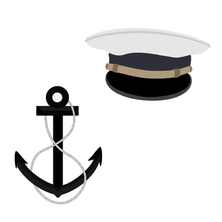 pirate crew: Navy, nautical raster icon set, captain hat and black anchor Stock Photo