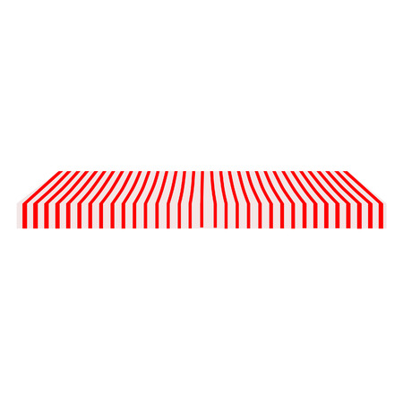 window shade: Striped red and white shop window awning raster isolated