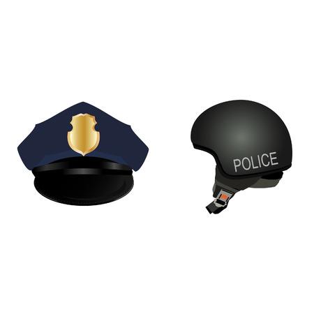 gorra polic�a: sombrero de la polic�a y de la ilustraci�n de la trama del casco. La polic�a de la PAC. Polic�a icono conjunto uniforme
