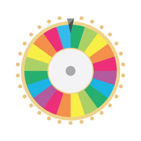 wheel of fortune: raster illustration wheel of fortune. Lucky spin icon in flat style.