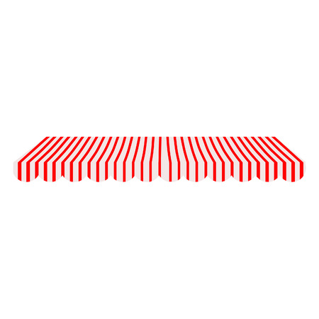 an awning: Striped red and white shop window awning raster isolated