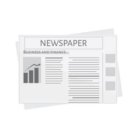 newspaper icon: Newspaper icon raster. Blank newspaper. Business and finance