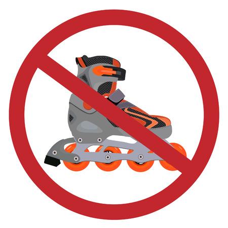 roller skates: No roller skates sign