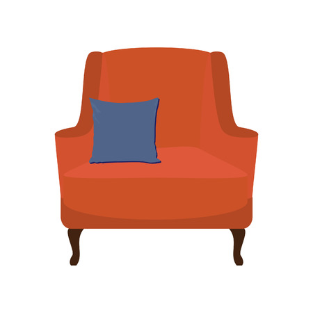 armchair: Orange vintage armchair with blue pillow raster illustration. Armchair isolated. Modern armchair