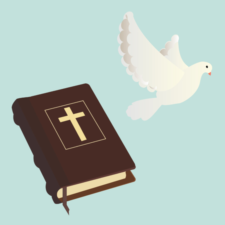 christianity: raster illustration of holy bible and pigeon blue background. Christianity concept. Religious symbol of Christianity.