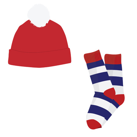 ski wear: raster illustration of red winter hat with white pompom and striped socks . Winter clothes icon set