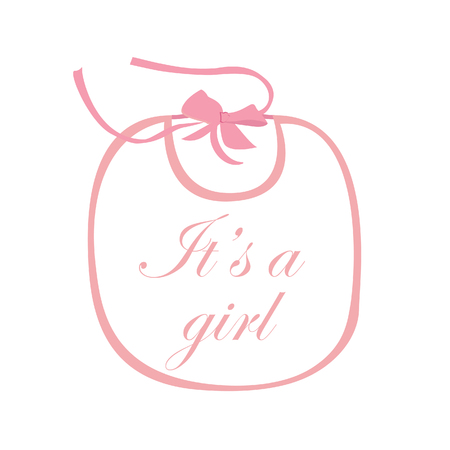 it girl: Pink baby bib for girl with text it is a girl raster isolated
