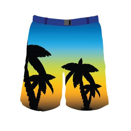 board shorts: Men board shorts raster template. Man blue swimwear trousers with palms.