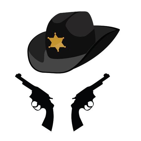 sheriff: Black sheriff hat, sheriff hat, cowbay hat
