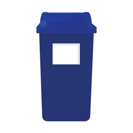 recycle bin: Blue recycle bin raster icon. Recycle bin for paper, plastic, cans and glass. Eco friendly