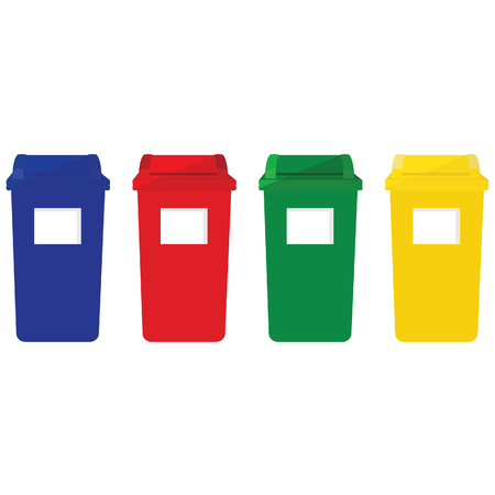 refuse: Four recycle bins raster icon with recycling symbol red, blue, green and yellow. Recycle bins for paper, plastic, cans and glass