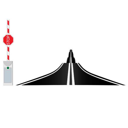 Country road, road barrier, long road, opened barrier, asphalt road