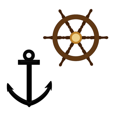 ship steering wheel: Black anchor and wooden ship steering wheel raster icon set isolated, nautical symbols Stock Photo