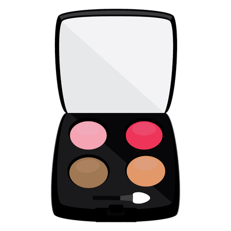 profesional: Profesional cosmetics. Color eyeshadows palette raster illustration. Multicolored eye shadows with a mirror Stock Photo