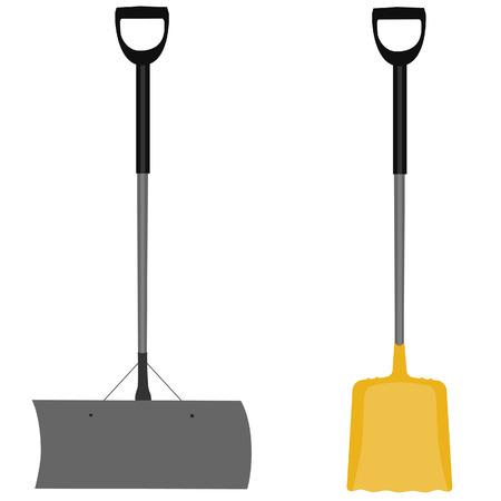 handtool: Snow shovel, yellow shovel, handtool, digging, snow shovel isolated, grey snow shovel