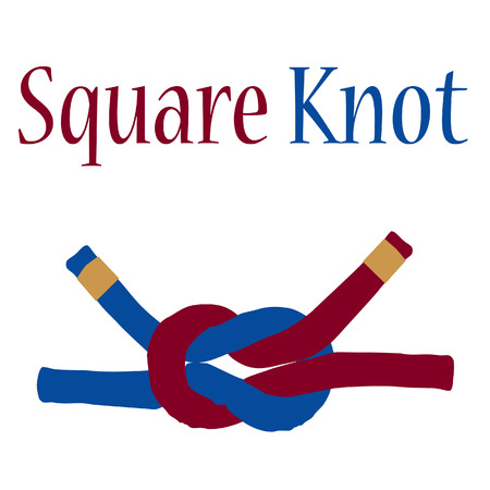 rope knot: Square joining knot raster isolated, nautical knot, rope knot