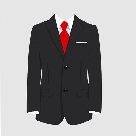 tailored: raster illustration of  black man suit with red tie and white shirt on grey background. Business suit, business, mens suit, man in suit Stock Photo